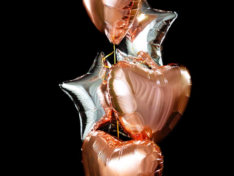 Metallic Silver and Golden Rose Balloons Bouquet