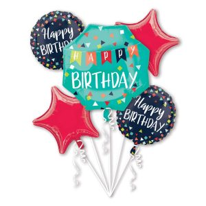 Happy Birthday 5 Balloons Bouquet Foil