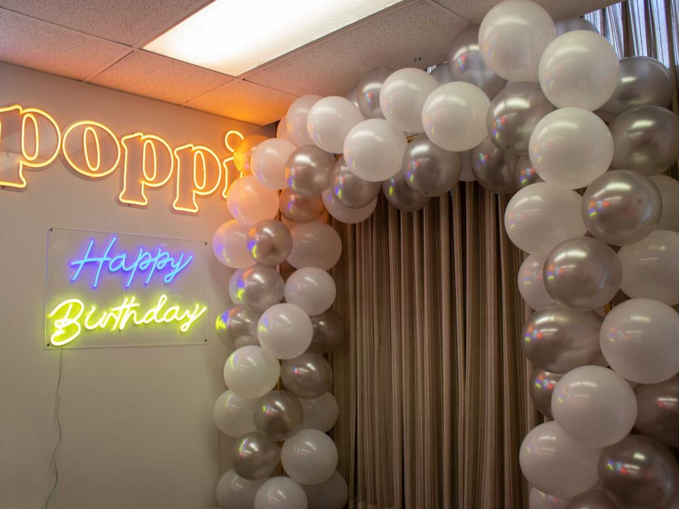 White and Silver Mylar/Foil Balloon Arch