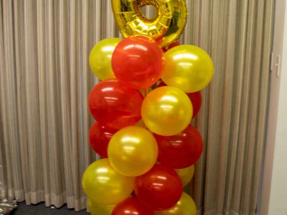 Red and Yellow Balloon Tower with Mylar/Foil Top Balloon